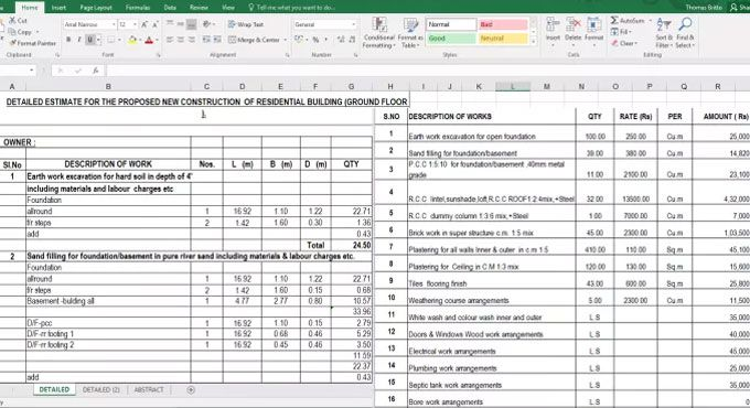 Download Spreadsheet To Estimate The New Construction Of