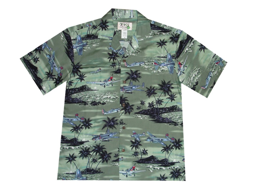 021bfbdba KY's Green with Airplanes Mens Aloha Shirt | Products