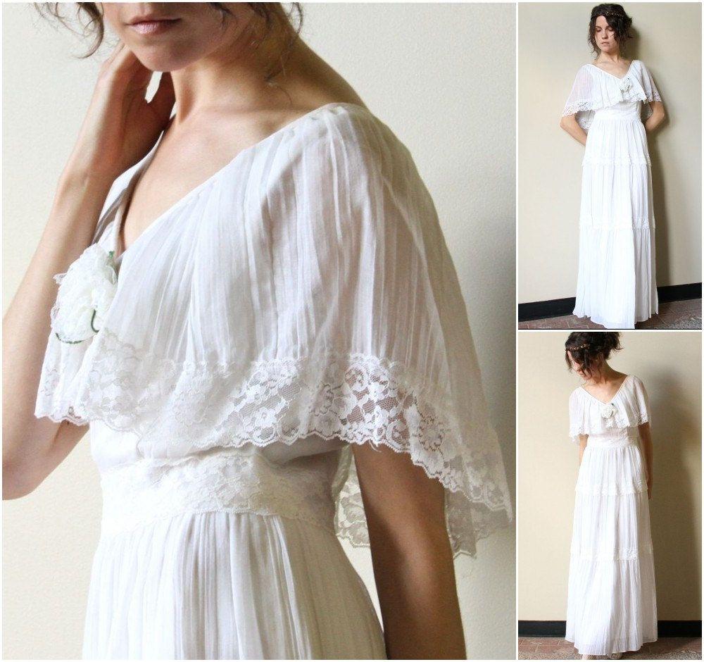 70s hippie wedding dress vintage boho peasant maxi for Boho dresses for weddings