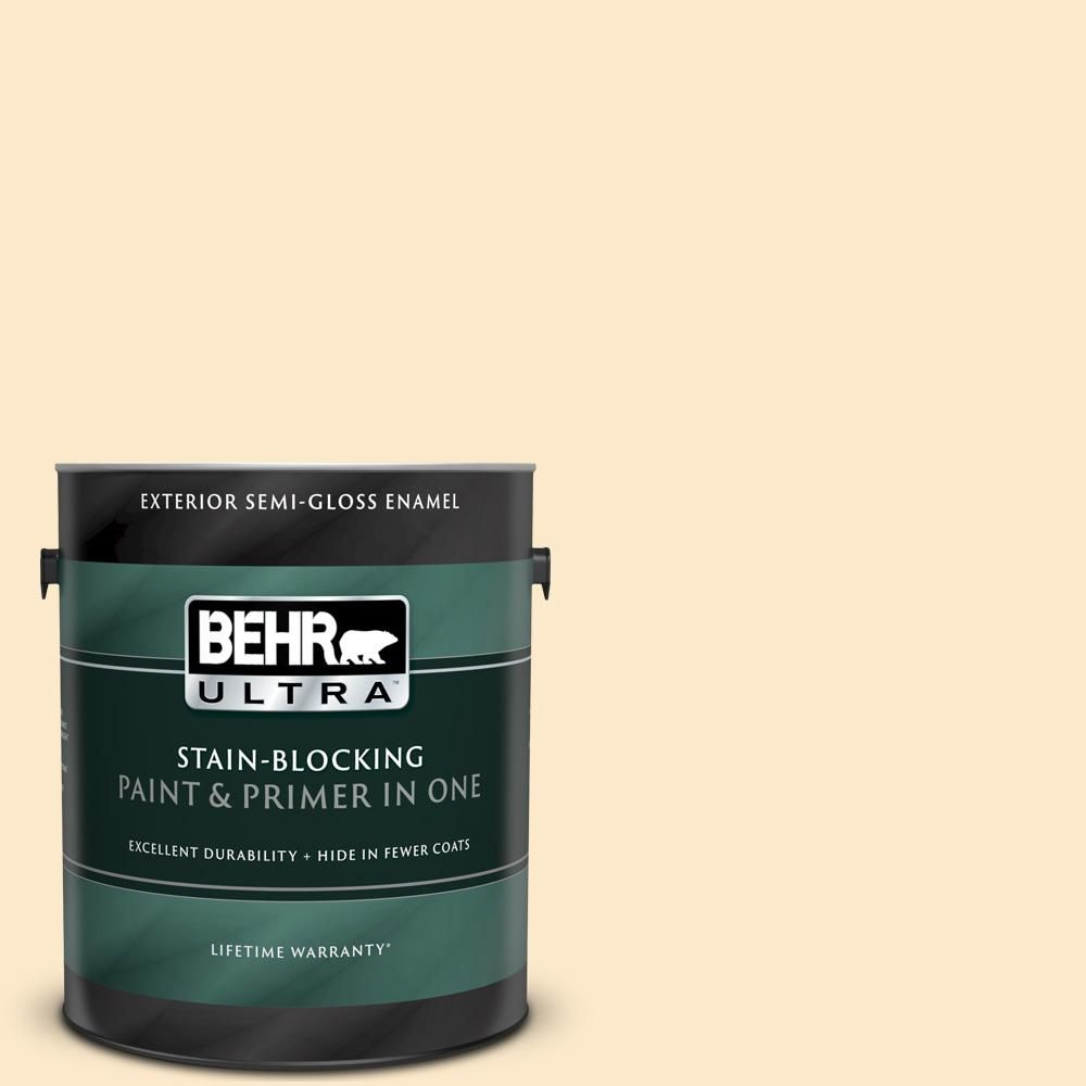Behr Ultra 1 Gal Yl W02 Spanish Lace Semi Gloss Enamel Exterior Paint And Primer In One Exterior Paint Paint Primer Exterior