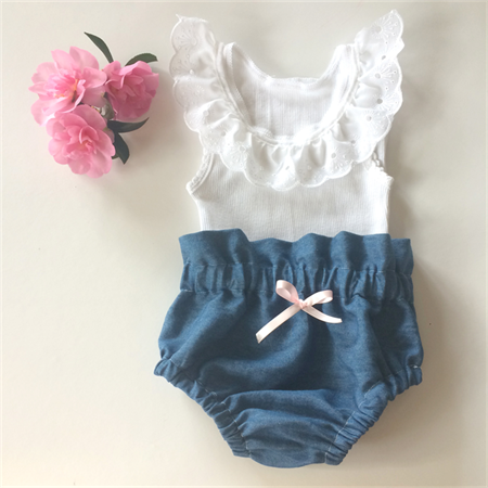 04e330f1e0 High Waist Denim Bloomers and Lace Singlet - baby