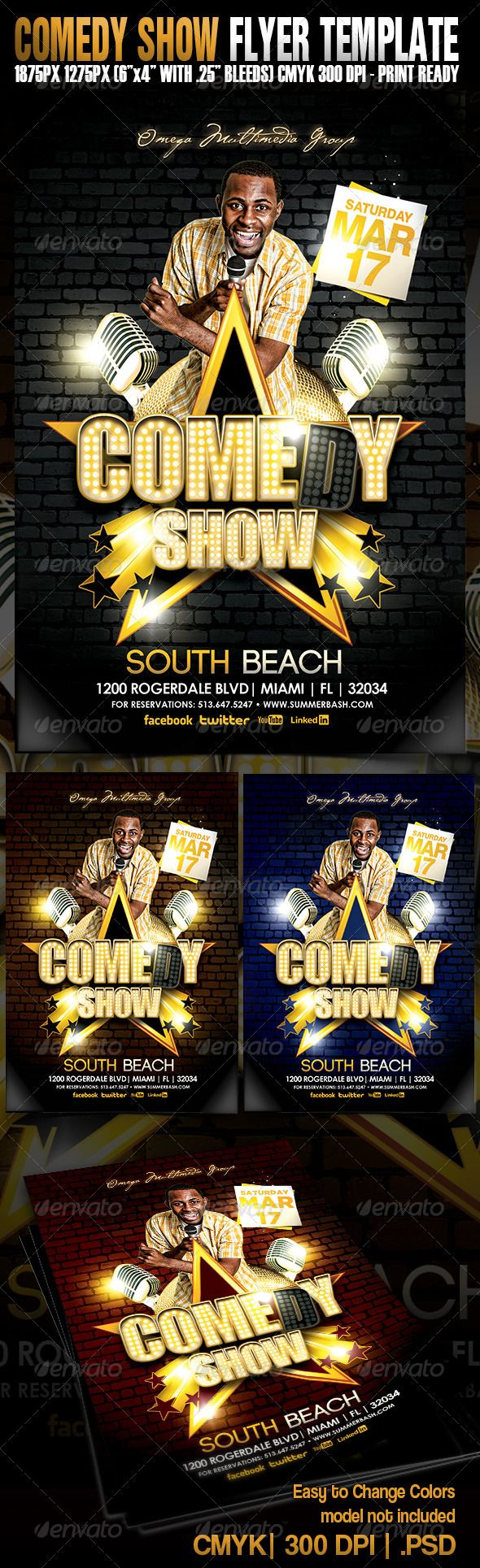 Comedy Show Flyer Template  Flyer Template Template And Fonts