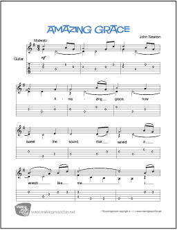 amazing grace newton easy guitar sheet music notation and tab contemporary arrangement. Black Bedroom Furniture Sets. Home Design Ideas