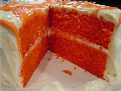 Orange Velvet Cake Orange Velvet cakehalf yellow and half red