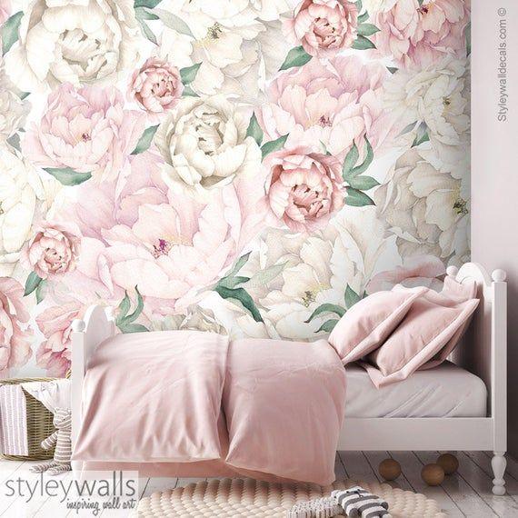 Peony Wallpaper, Peonies Wallpaper, Pink White Watercolor