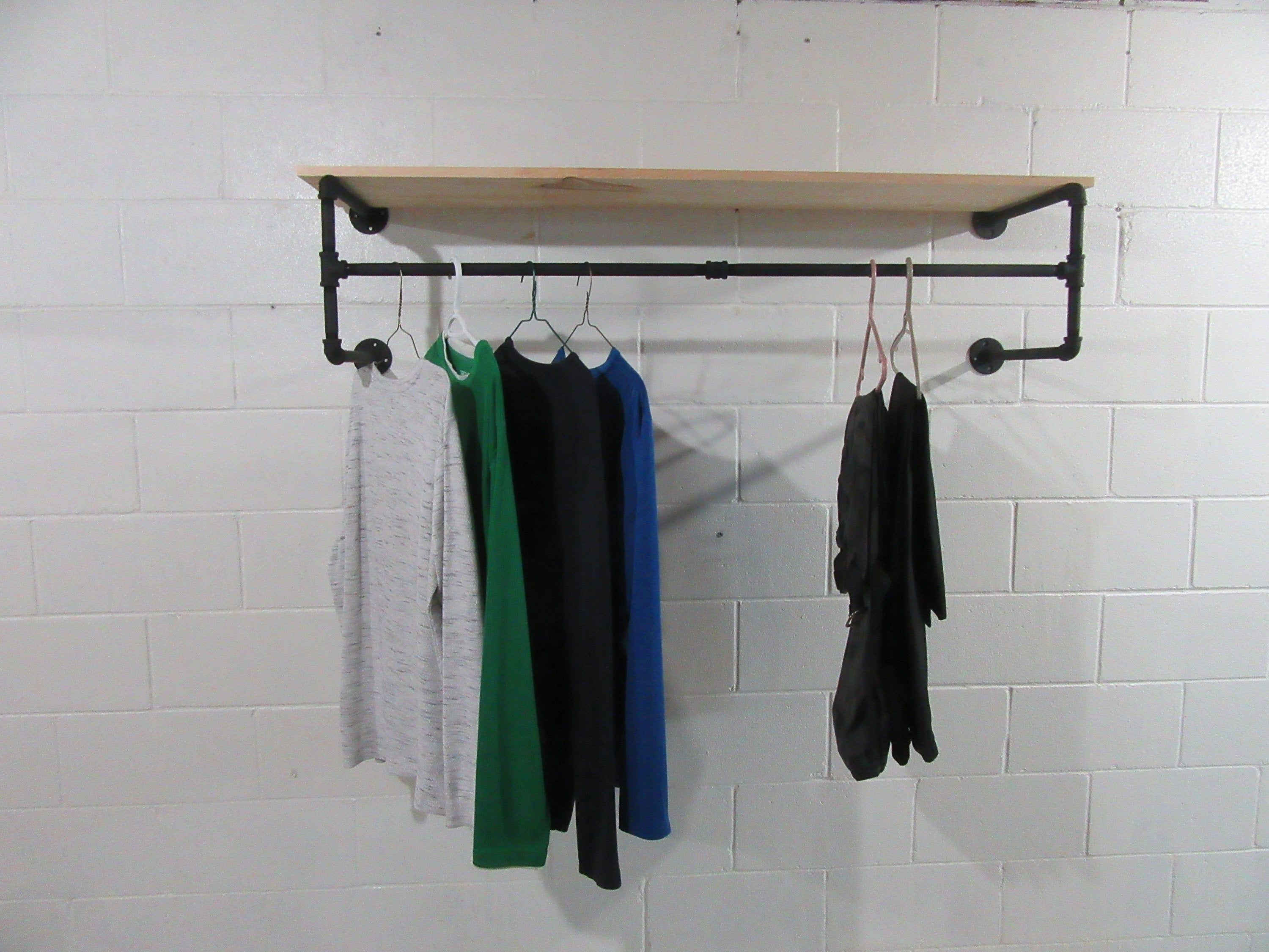 Item 507 1 2 Quad Mount Steampunk Industrial Design Clothing Rack Wall Mounted Clothes Rack Garment Rack Retail Rack Display In 2020 Clothing Rack Design Rack