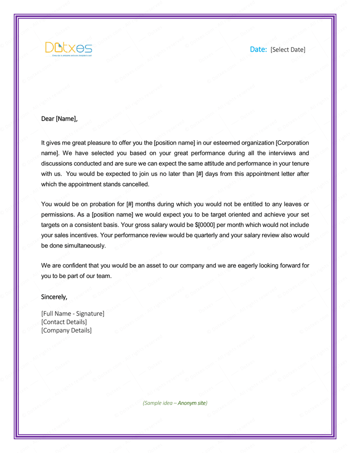 Job Appointment Letter for New Employee | Letter Templates - Write ...