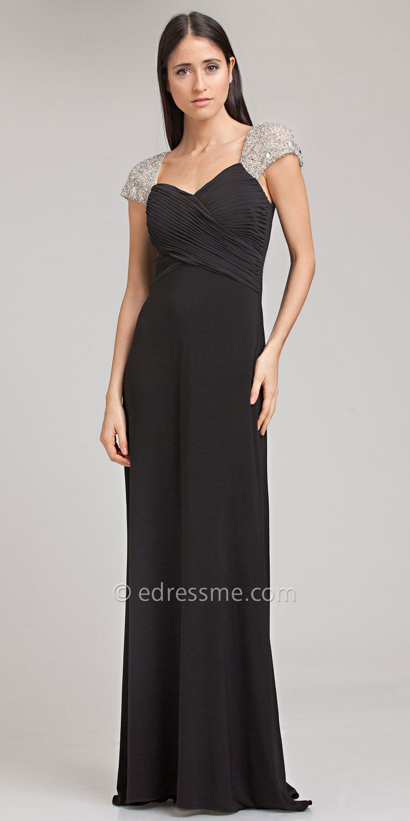 Beaded cap sleeve jersey evening dresses by js boutique fashion