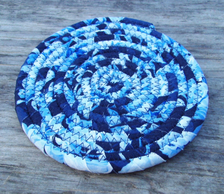 Coiled Fabric Candle Mat Trivet Plant Mat Mug Rug Lamp Pad Vase Pad Fabric Candle Mug Rug Candle Mat