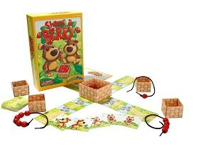 """Players take turns flipping over their 4 Berry Path tiles, collecting the number of strawberries shown from the Big Berry Basket and threading them onto their string. When players begin turning over their River Path Tiles, they must remove the number of strawberries from their string and pass them to another player as directed by the bear on the tile. It's fun to """"Share a Berry!"""""""