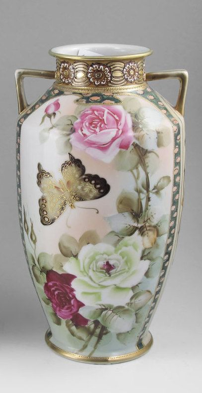 Imperial Nippon Porcelain Vase Hand Painted Rose And Butterfly Design With Gold And Beading