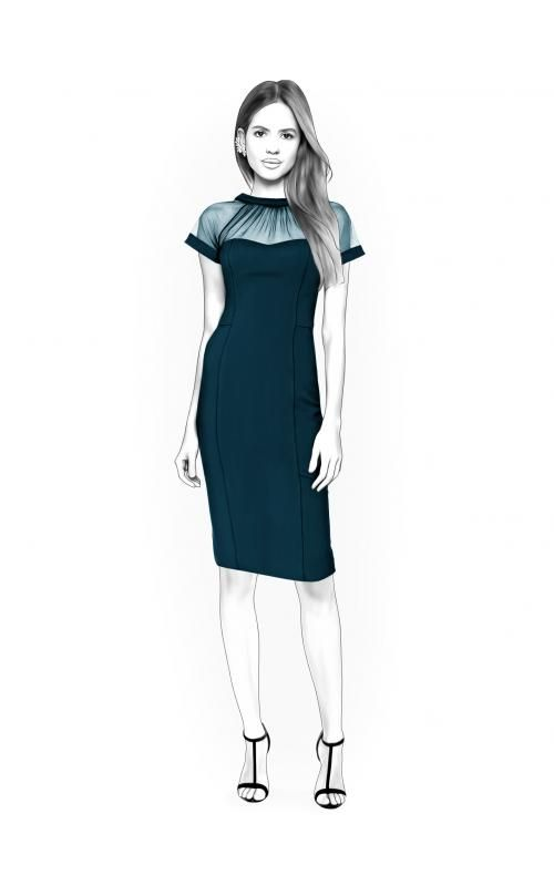 Dress With Transparent Yoke - Schnittmuster #4402. Made-to-measure ...