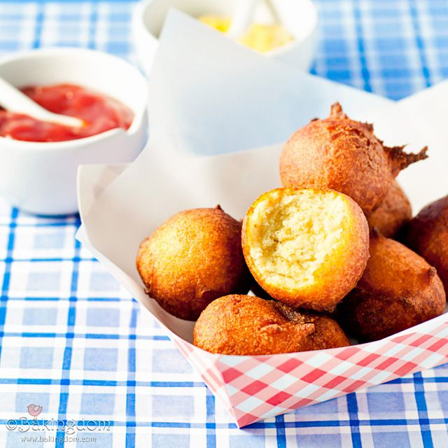 Hush puppies (and a printable serving tray). Another corn dog recipe too.