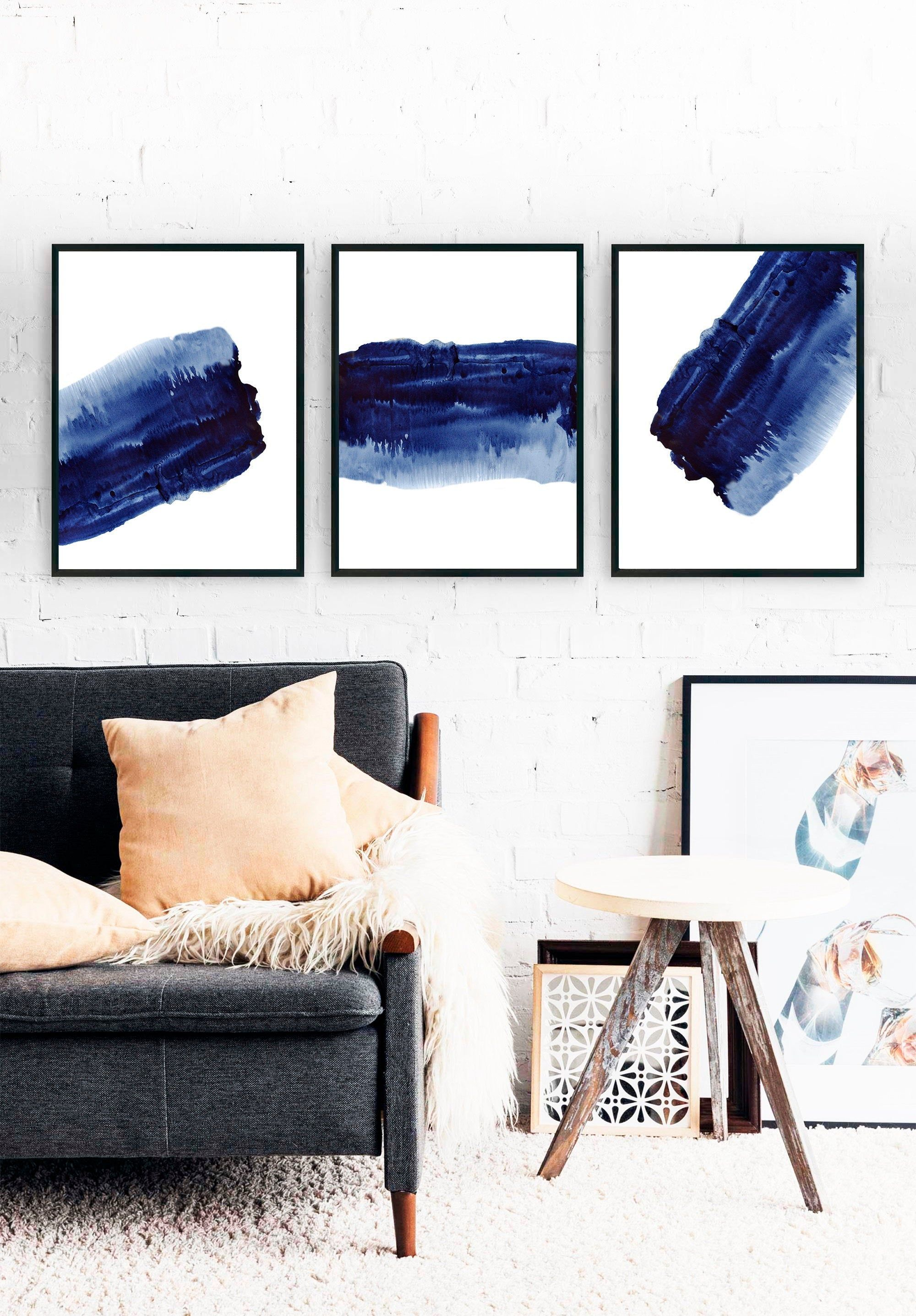 Abstract Navy Blue Wall Art Set Of 3 Prints Modern Printable Etsy Navy Blue Wall Art Blue Wall Art Minimalist Living Room Decor