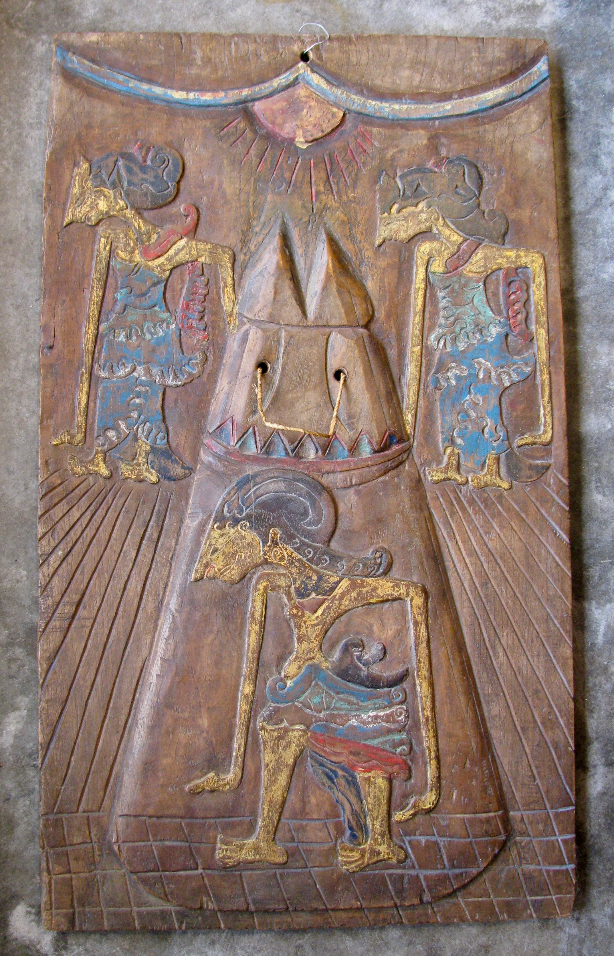 A polychrome Kris Board from Yogakarta Java Things Made of Wood