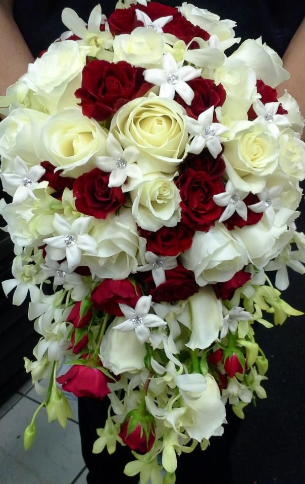Wedding Bouquet Of White Roses Cascading bridal bouqu...