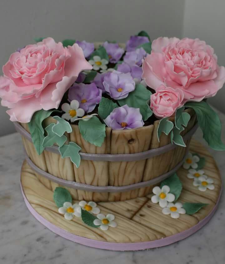Flower Pot Cake Flower Pot Cake Pot Cakes 90th Birthday Cakes
