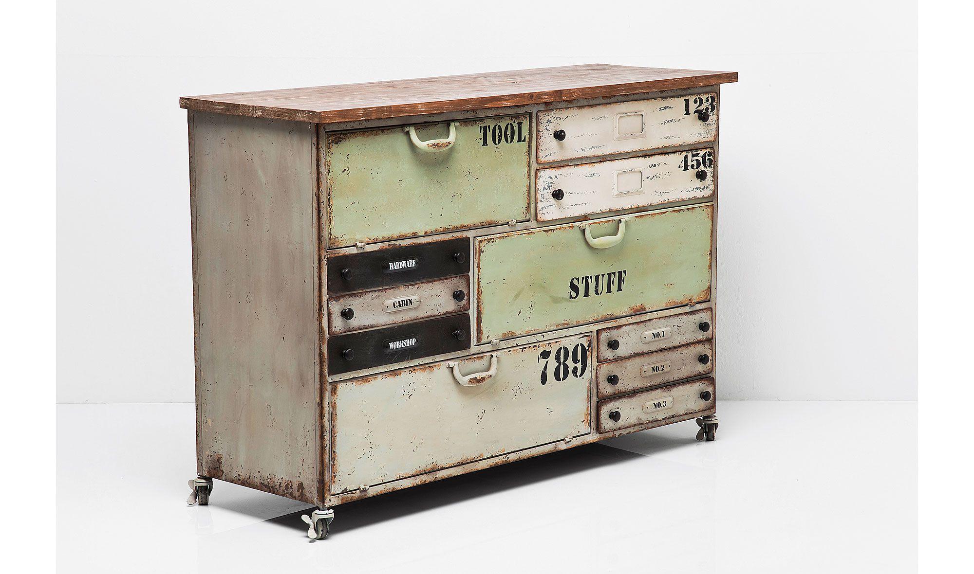 Mueble Multi Cajones Colores Cavan Mueble Rustico Industrial  # Muebles Retro Baratos