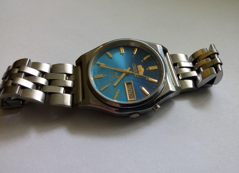 Vintage Japan Wrist Watch Automatic Orient Aaa Crystal 21 Jewels Calendar Mount Day Blue Dial Men 1990c Working Perfect Men S Vintage Watch Automatic Watch Wristwatch Men