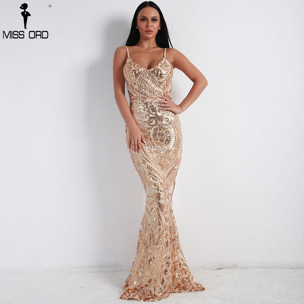 13e4a3d7e9 Missord 2018 Women Sexy Off Shoulder Sequin Dresses Female Backless ...