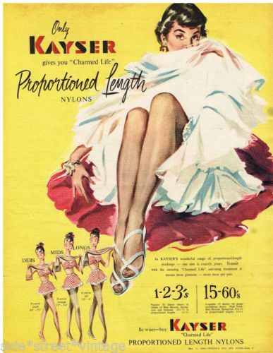 Kayser Nylons Vintage advert  poster reproduction.
