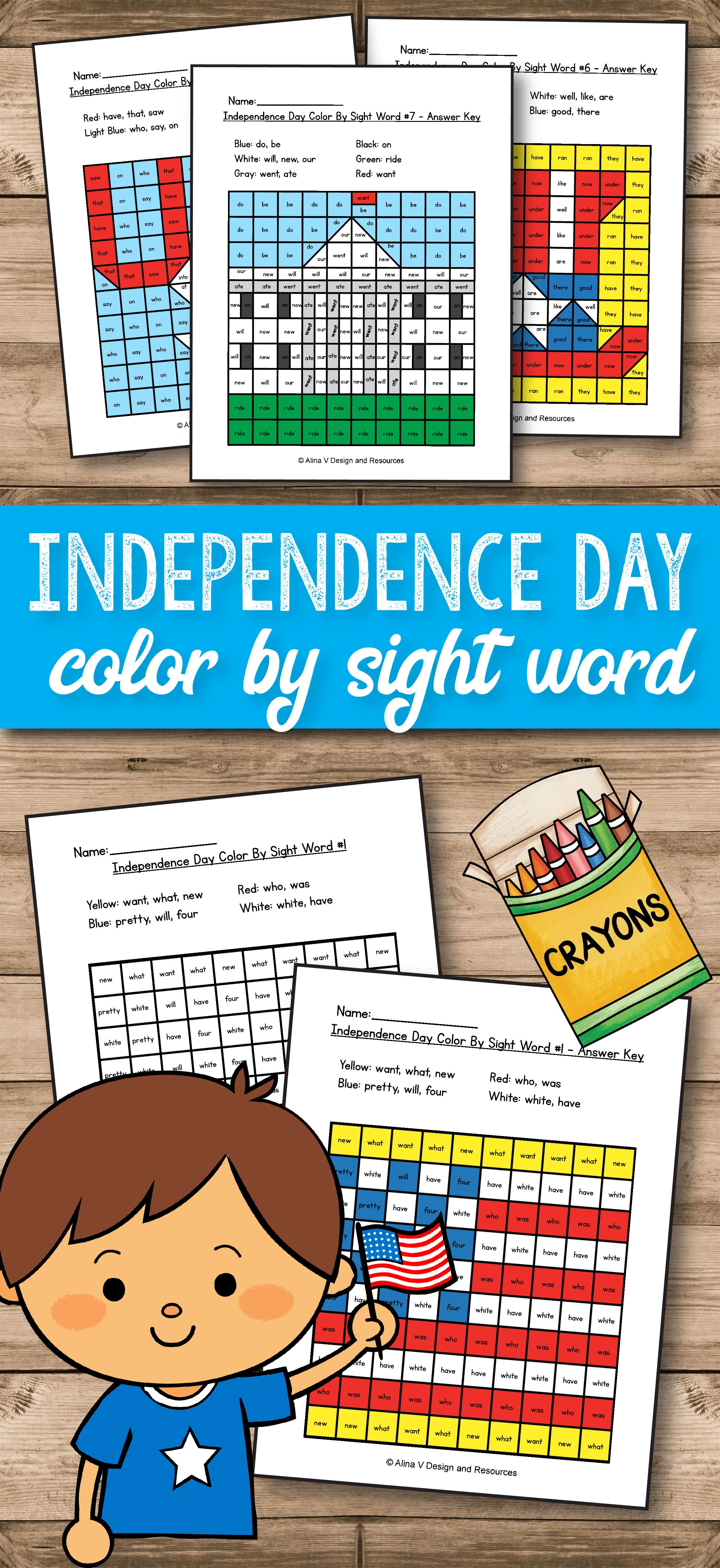 4th of July Color By Sight Word - 4th of July Activities for ...