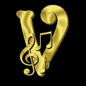Alphabets By Monica Michielin Alfabeto Dourado Com Notas Musicais