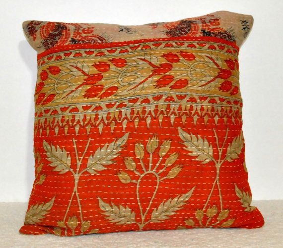 Vintage Kantha Decorative throw Pillow kantha by JaipurHandloom, $17.99