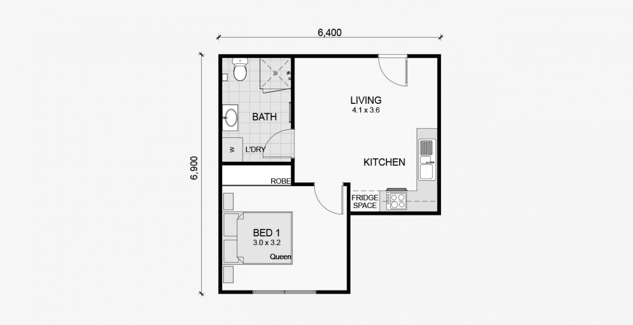 Maple 1bed 40m2 Floor Plans Granny Flats Australia Granny Flat Plans