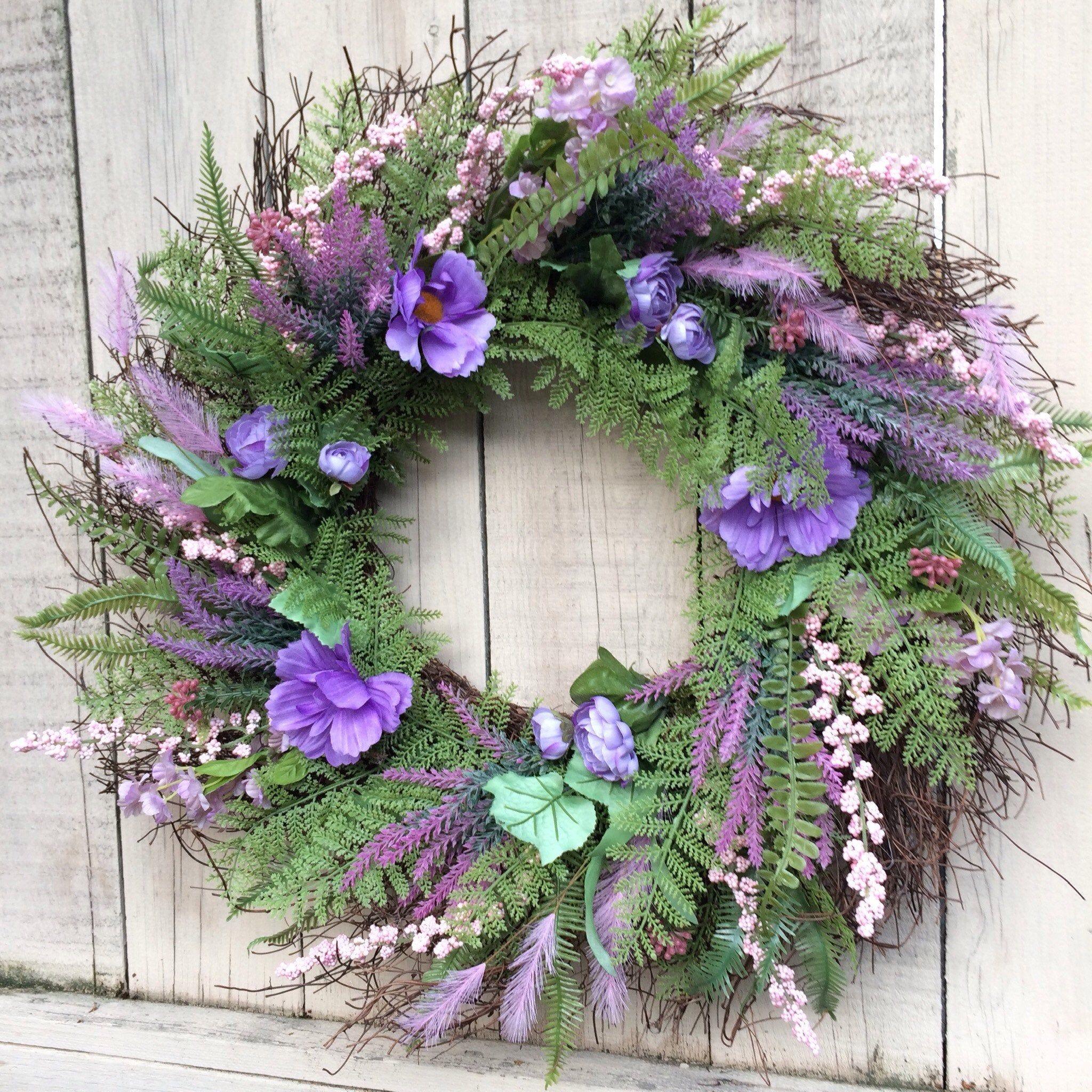 Photo of Spring Wreath, Purple Flower Wreath, Spring Grapevine Wreath, Wreath for spring, spring decor, Grapevine Wreath.
