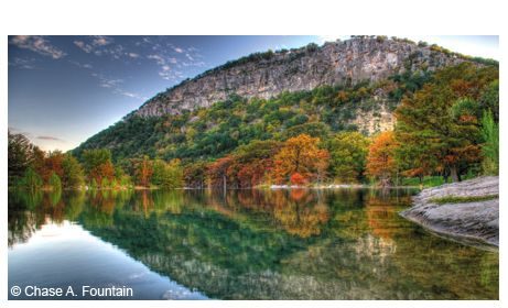 Reflection of Garner State Park's Old Baldy in the Frio