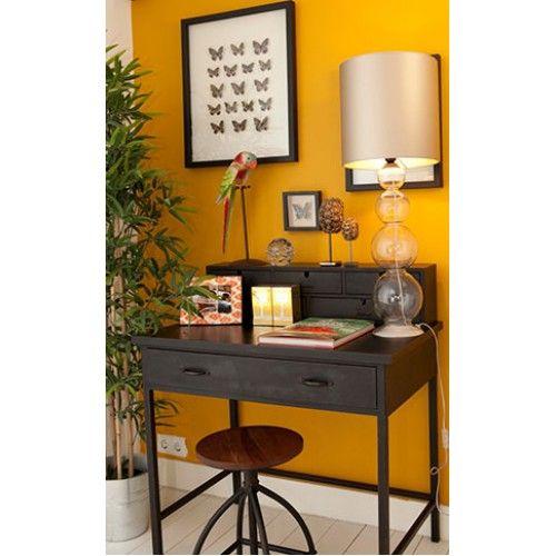 Bureau, gele muur - Inrichting   Pinterest - Bureaus, Muur en Tv
