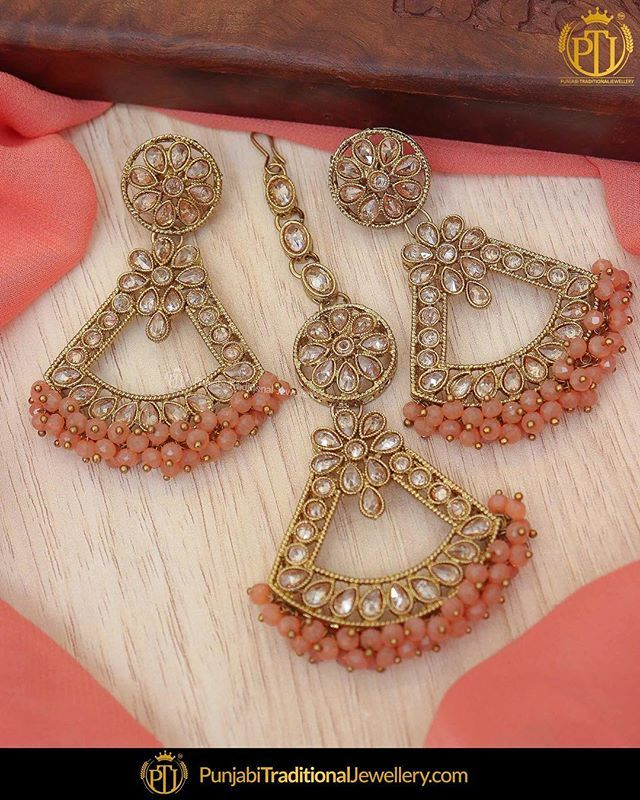 2bbd6360b featured:- Champagne Stone Earrings Tika Set Shop our latest collection at  our store or