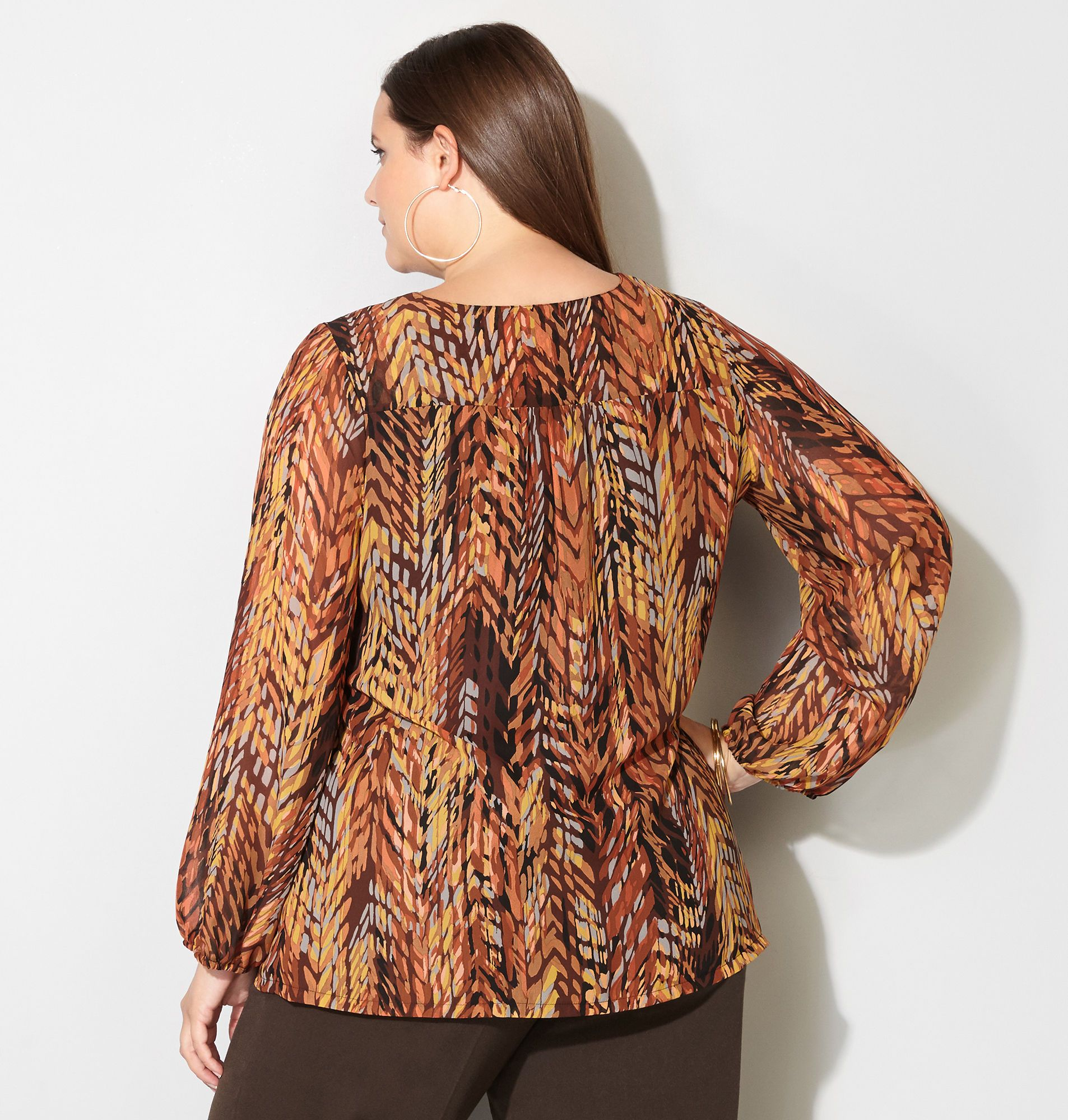 Abstract Herringbone Lace-Up Top - Avenue