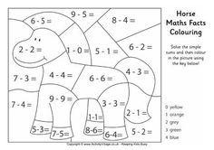 Horse Maths Facts Colouring Page Matematicas Para Ninos