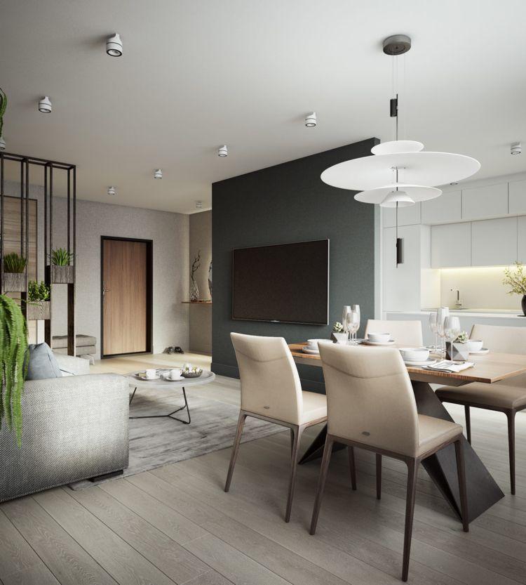 Weiss Grau Beige Wohnzimmer Tvwand Esstisch #dream #house