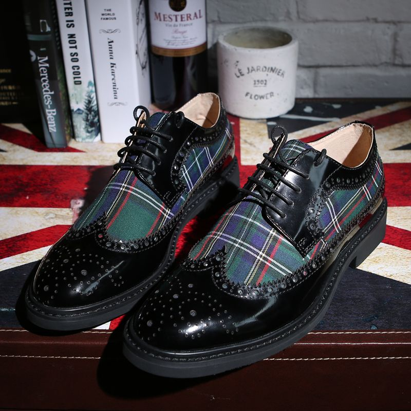 High-quality men oxfords genuine leather contrast color Lattice print platform brogues men dress shoes Bullock wedding shoes