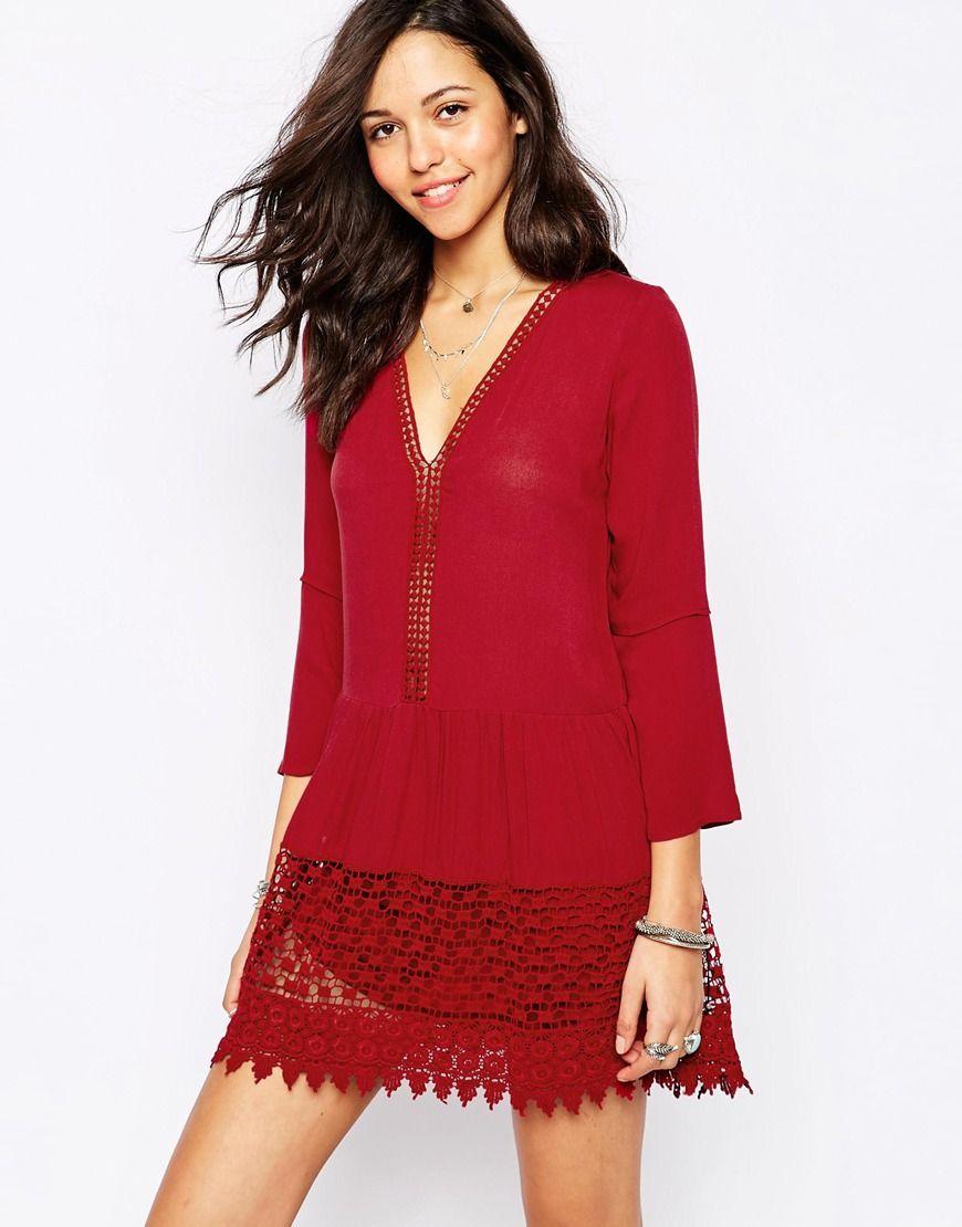 Dress by pullubear lightweight cheesecloth vneckline crochet lace
