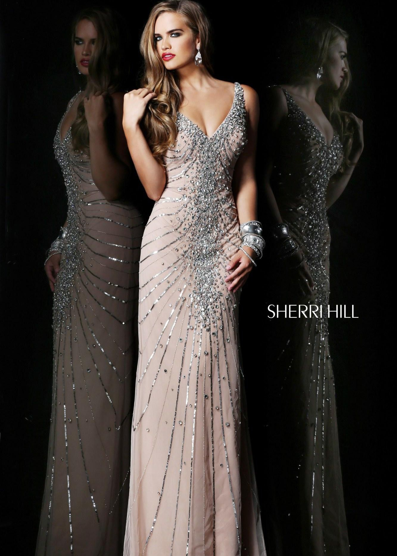 Sherri hill nude beaded vneck prom dresses rissyroos