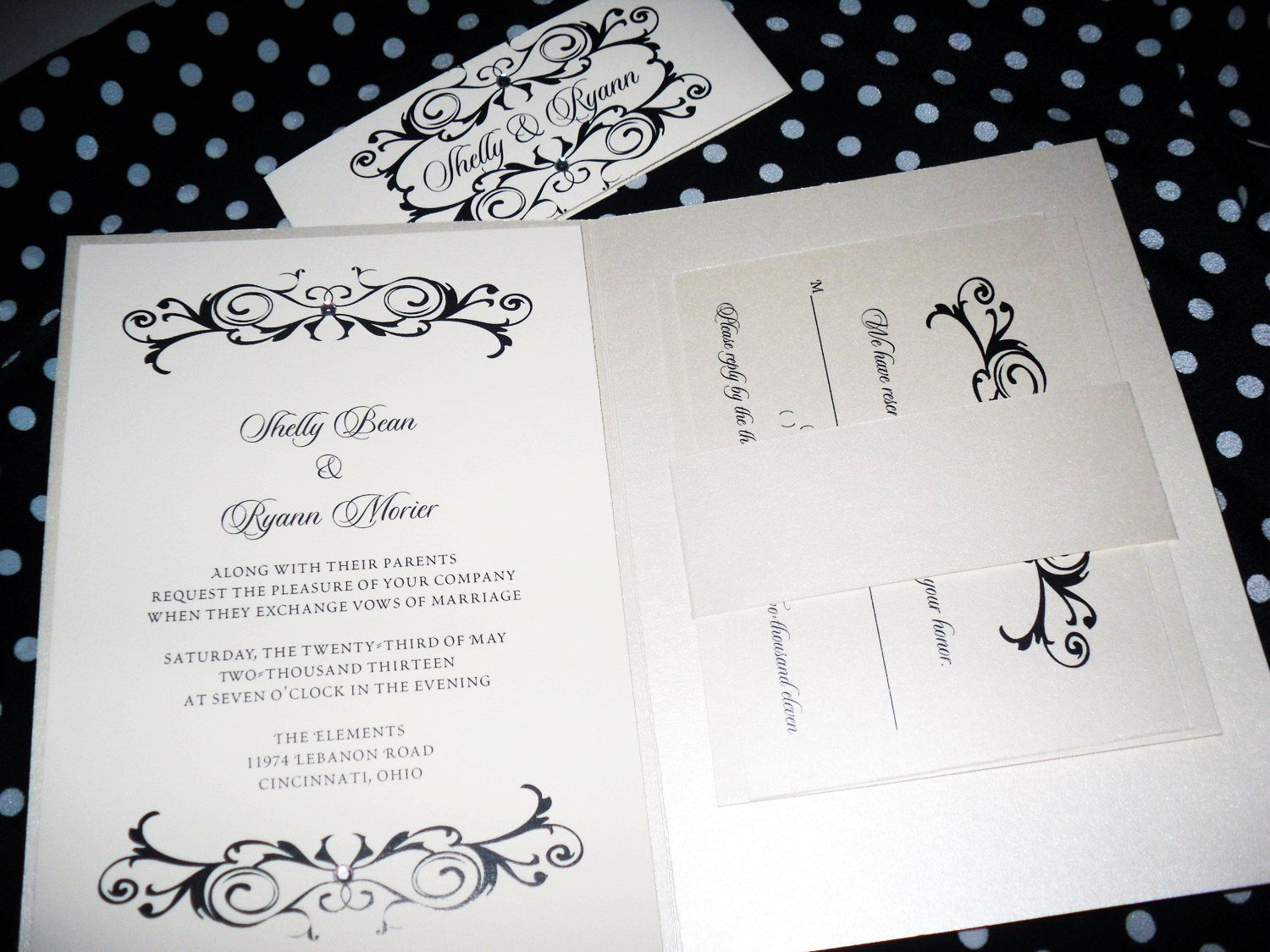 Champagne, Cream & Black Wedding Invitation Suite Many Color Options ...