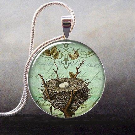 Antique Bird's Nest art pendant bird nest by thependantemporium, $8.95