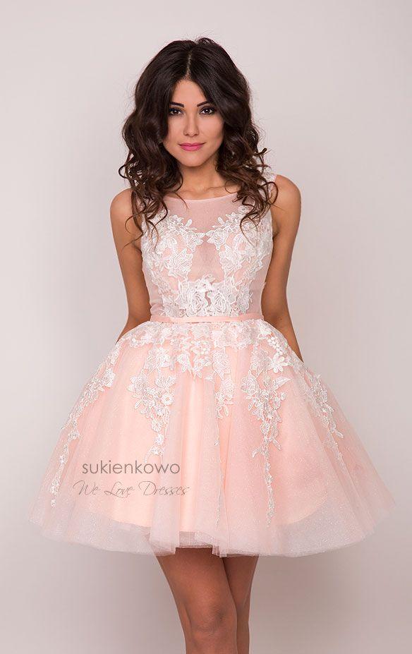 9a7b78014c Sukienkowo.pl - ZOE - rozkloszowana sukienka z giupiurą brzoskwiniowo różówa