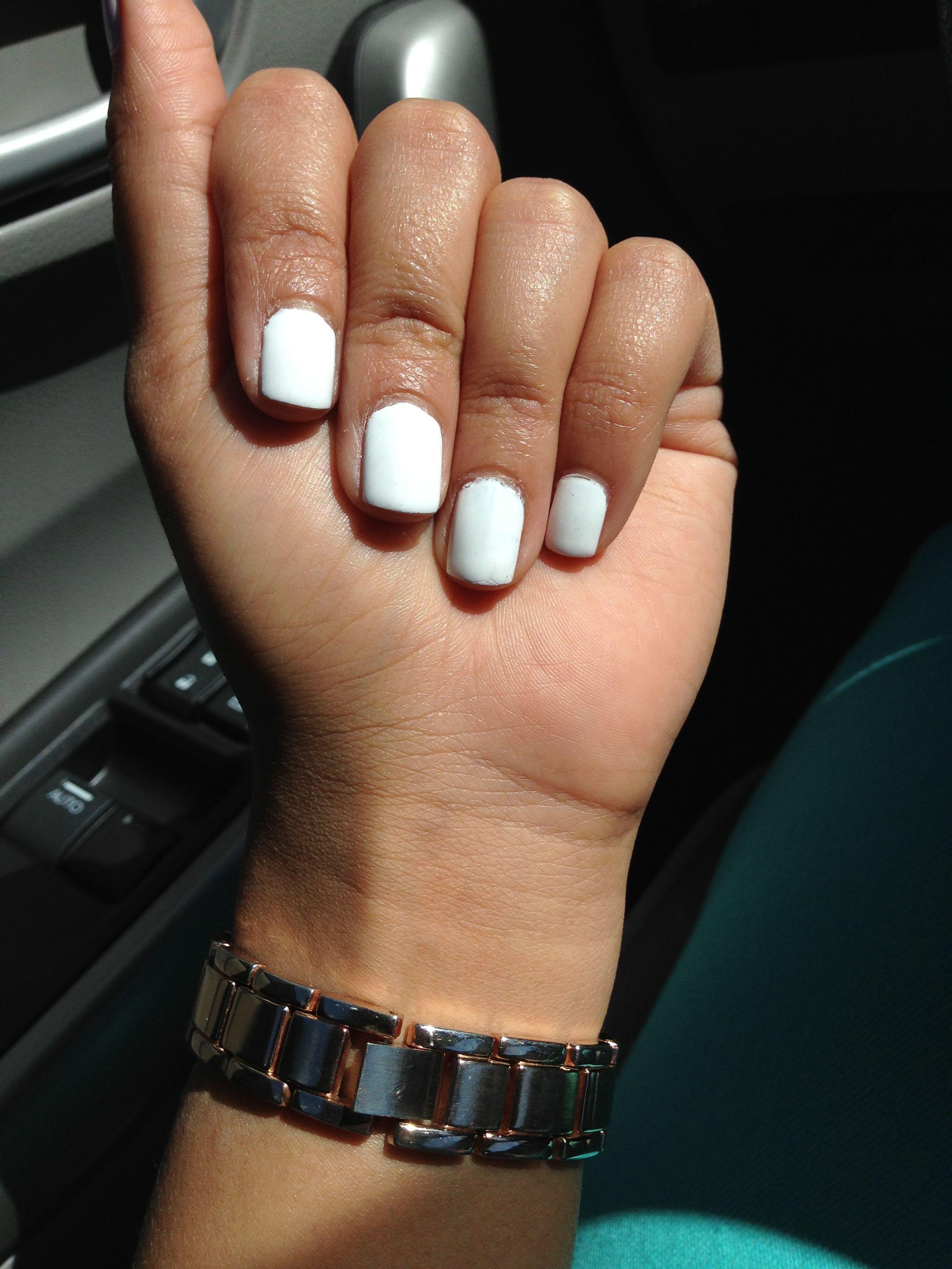 Kim Kardashian inspired short white nails. So fresh and clean ...