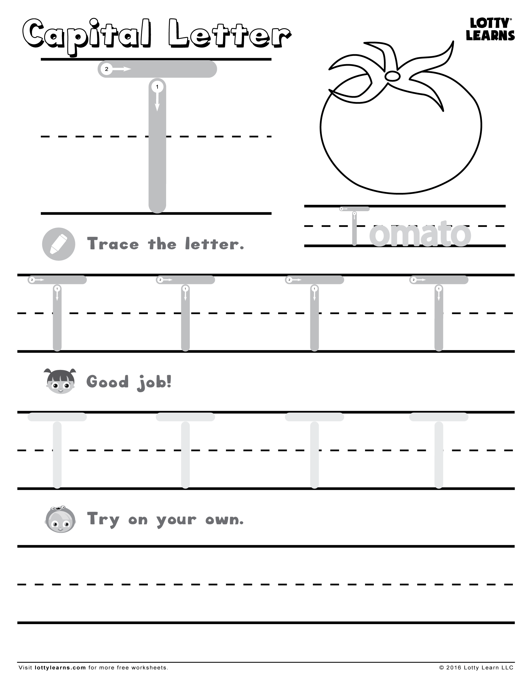 Worksheets Letter Y Worksheet capital letter t lotty learns abc printables uppercase learns