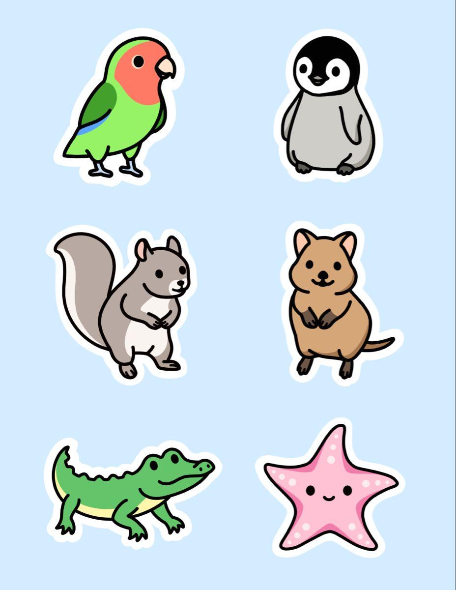 Cute Animal Sticker Pack 12 Cute Easy Drawings Cute Doodles Animal Stickers [ 1200 x 928 Pixel ]