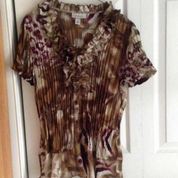 Tan w/purple accents blouse Tan w/purple accents blouse Dress Barn Tops Blouses