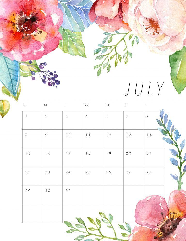 Free Printable 2018 Floral Calendar Almanaque 2018 Pinterest