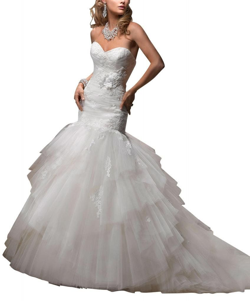 George bride mermaid sweetheart net over satin bridal dress with