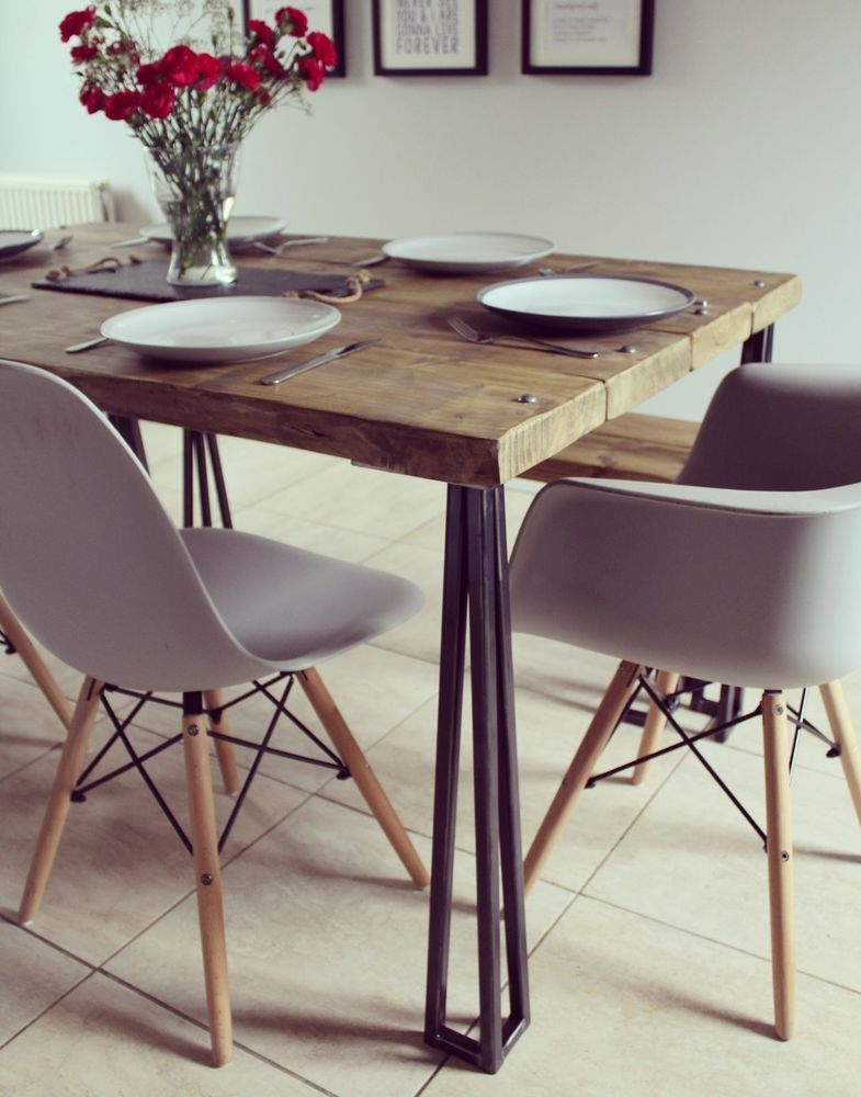 Brilliant Details About Industrial Style Dining Table And Bench Set Machost Co Dining Chair Design Ideas Machostcouk