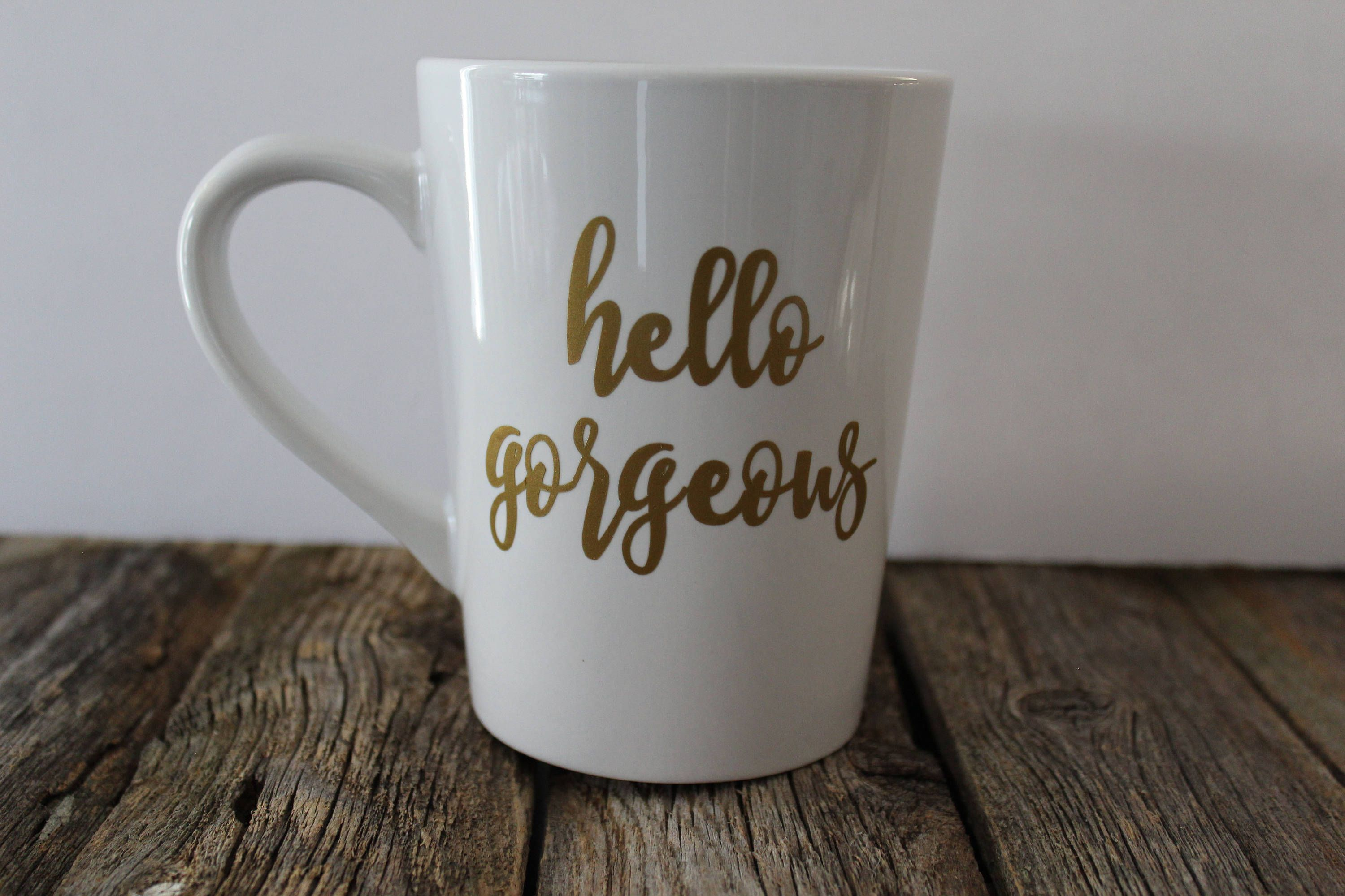 Beautiful Hello Gorgeous Coffee Mug, Gold Coffee Mug, Gift For Her, Office Decor,